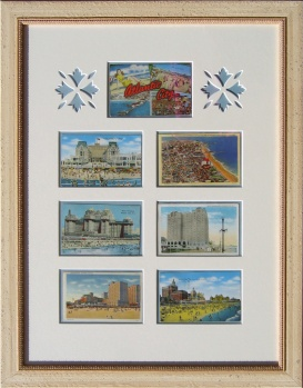 Framed Vintage Atlantic City Postcard Montage