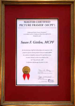 Master Certified Picture Framer