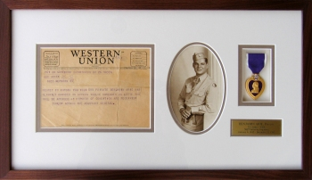 Framed Telegram and WWII Memorabilia
