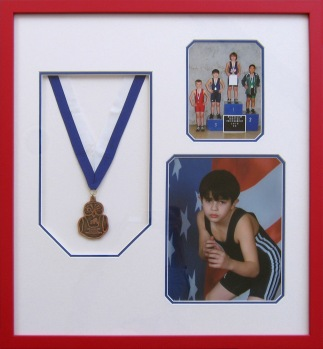 Framed Wrestling Photos and Medal