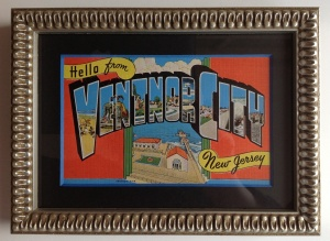Ventnor City Vintage postcard matted and framed
