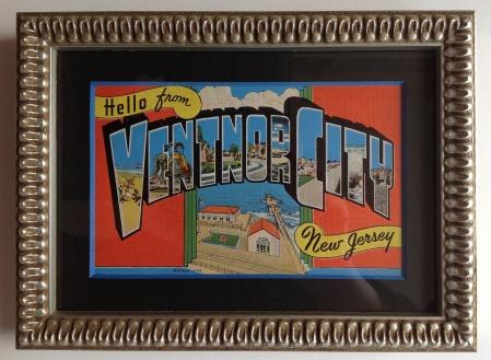 Ventnor City Vintage postcard matted and framed