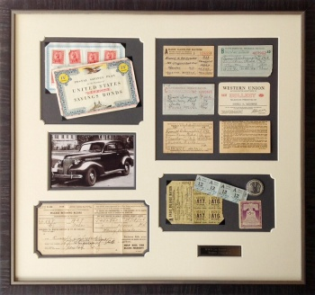 WWII Gas Rationing Montage archivally custom framed