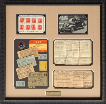 Custom Framed WWII Gas Rationing Coupons with Vintage Chevy Postcard
