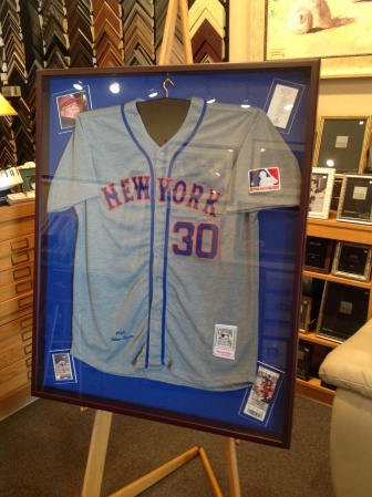 Mets Jersey framed with photo, game ticket, baseball card and funeral card