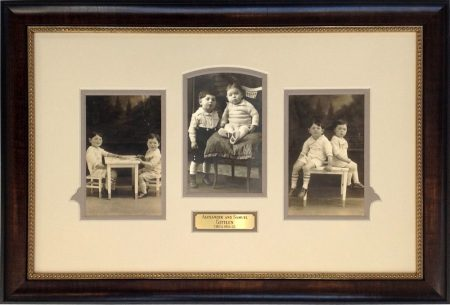 1920's Vintage Photos Framed with Fillet and Brass Engraved Plate