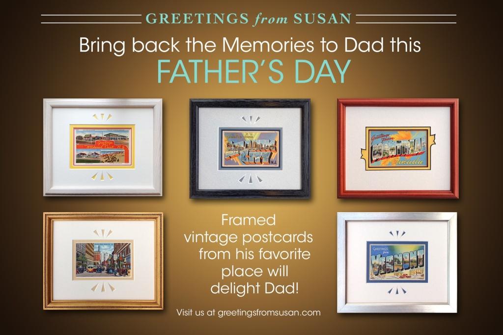 Framed vintage postcards for Father's Day.
