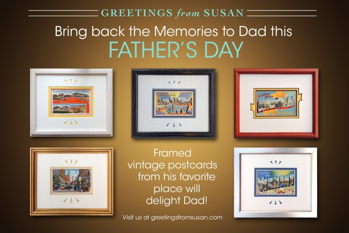 Framed vintage postcards for Father's Day.