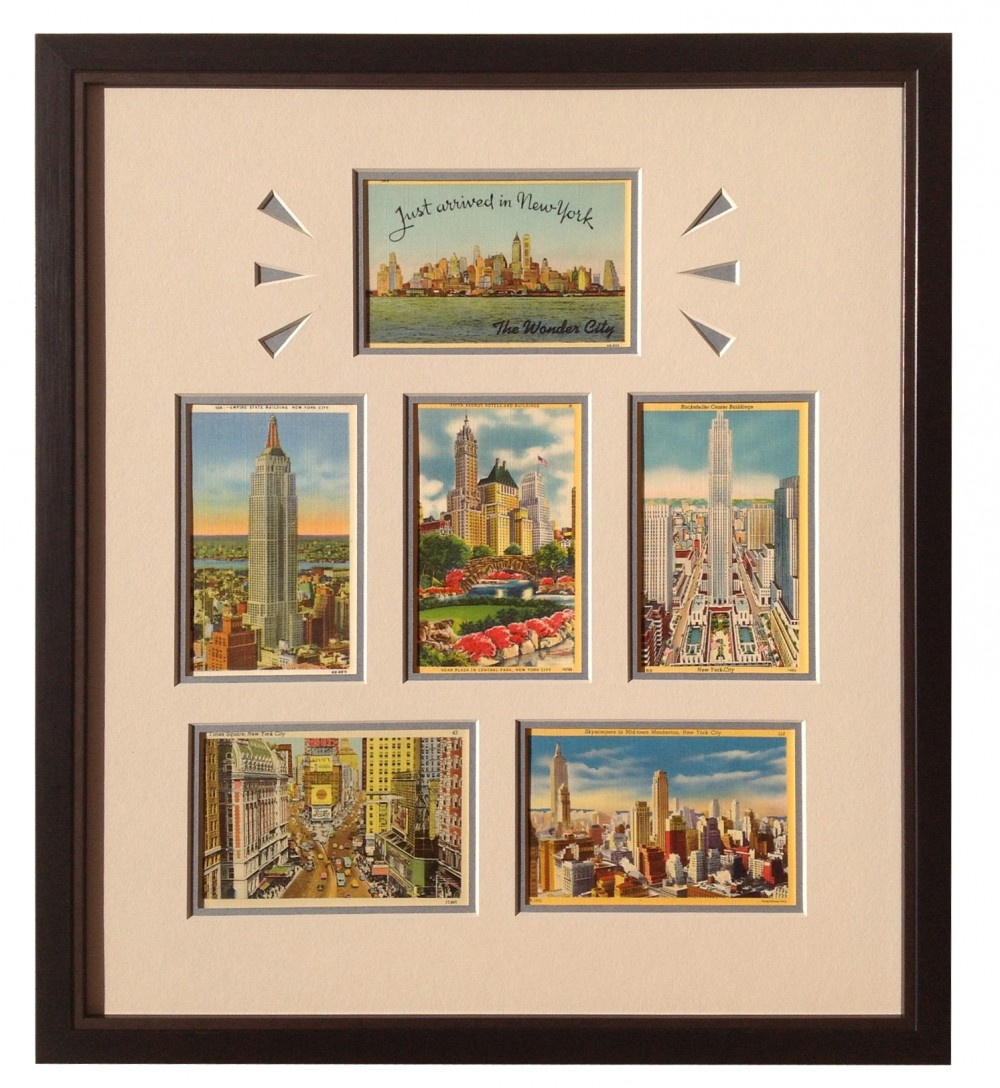 Custom framing ideas Unique Nyc Vintage Postcards Custom Framed Whispering Woods Gallery Framed Vintage Postcards Whispering Woods Gallery
