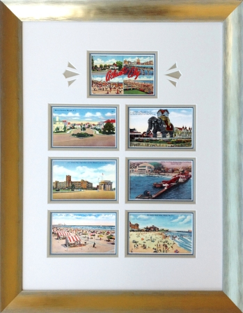 Atlantic City vintage postcard montage custom framed at Whiispering Woods Gallery