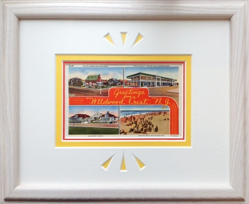 framing for Wildwood Crest vintage postcard
