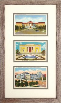 Philadelphia Art Museum postcards custom framed.