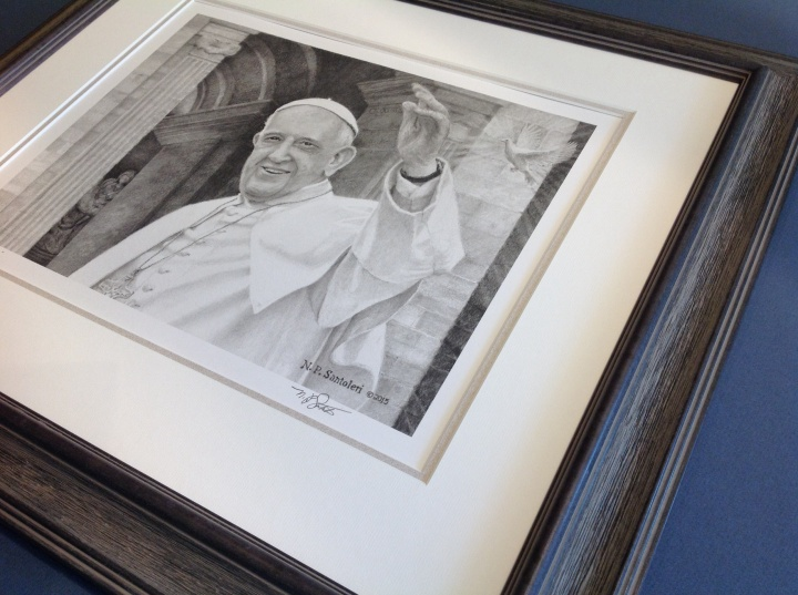 Pope Francis print framed