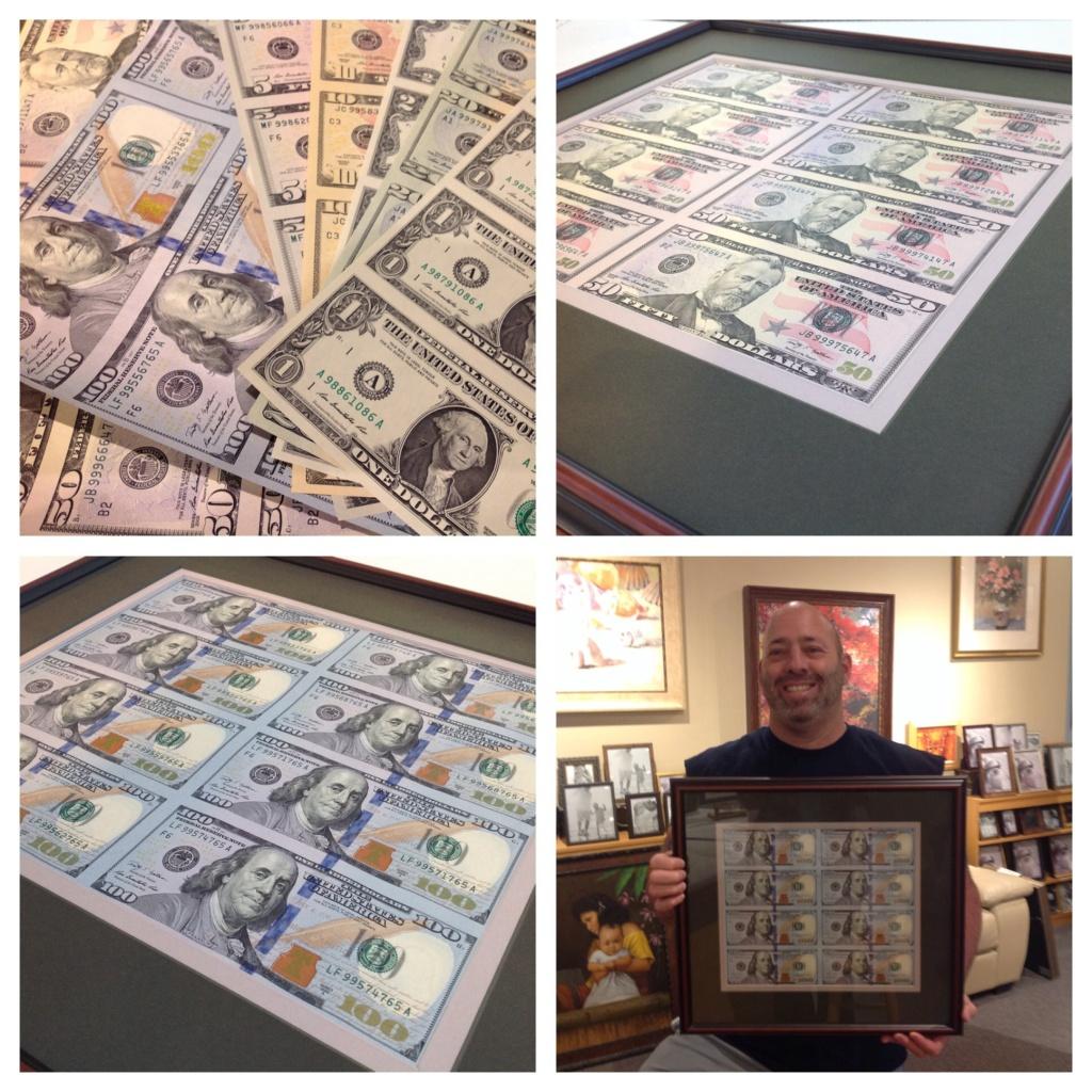 Framed money at Whispering Woods Gallery