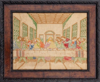 Framed 1970's Last Supper Stitchery, remounted and reframed
