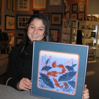 Oriental fish print custom framed