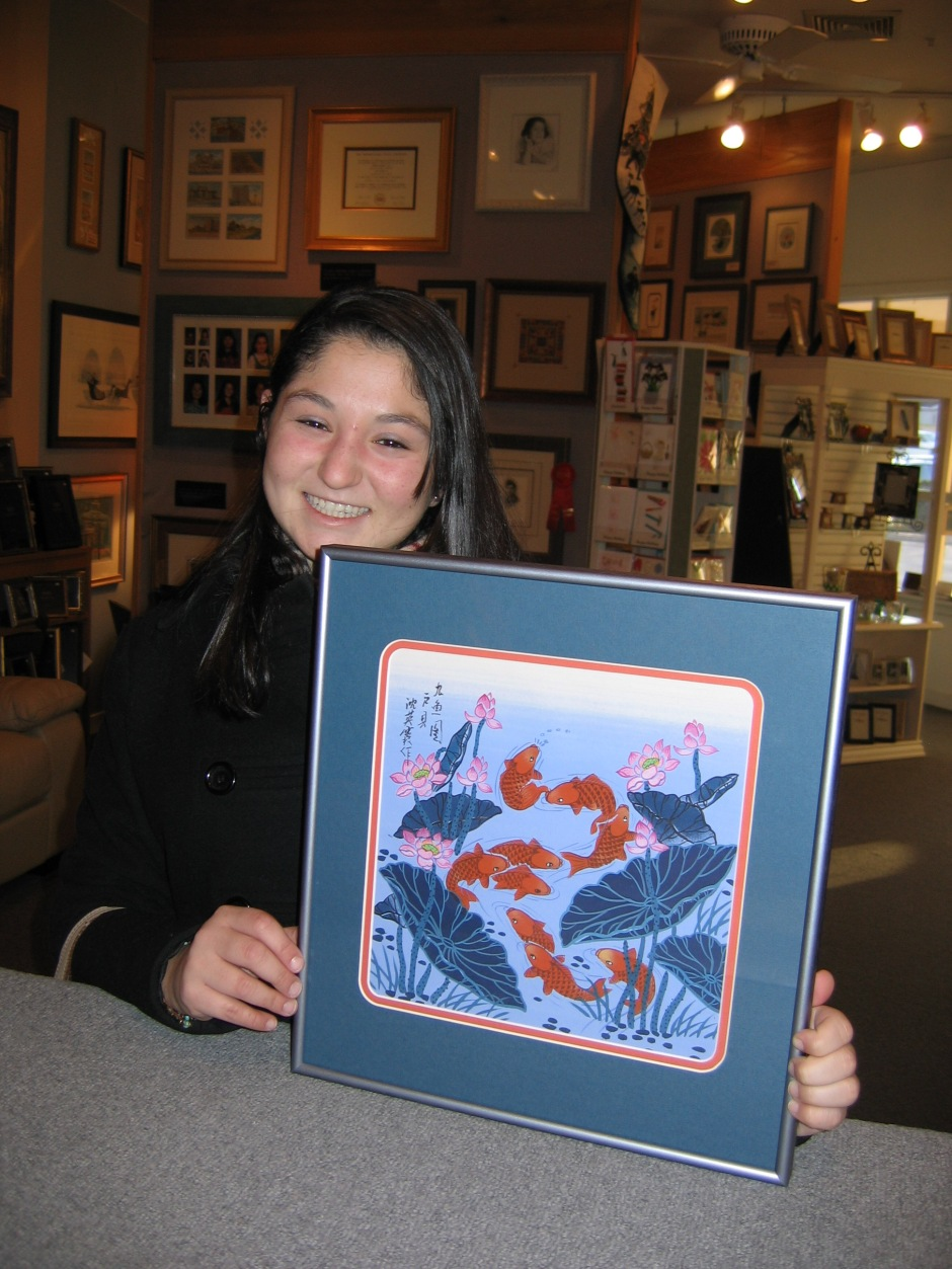 Oriental fish print custom framed