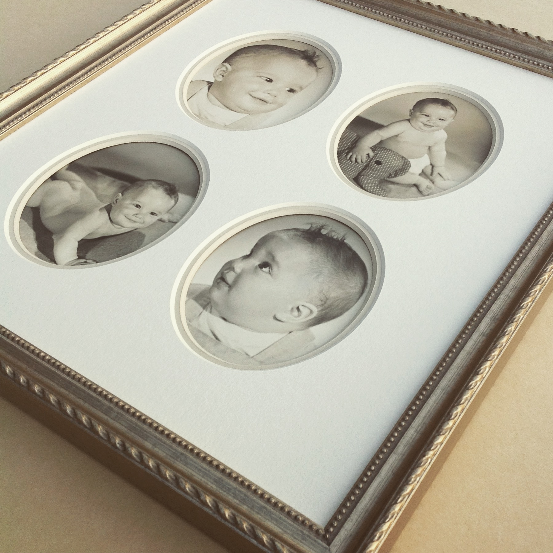 1940's baby photos custom framed