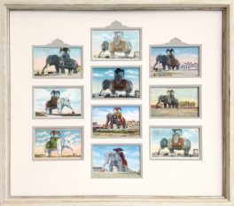 Ten vintage Lucy the Elephant postcards framed for a shore house in Margate, NJ