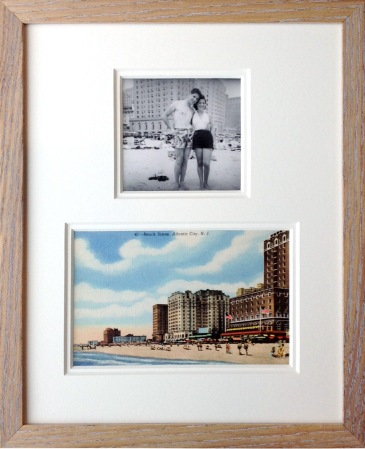 Framed vintage postcard and photo