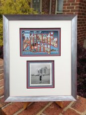 Atlantic City Large Letter postcard with photo custom framed
