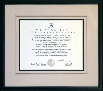 Wharton Framed Diploma