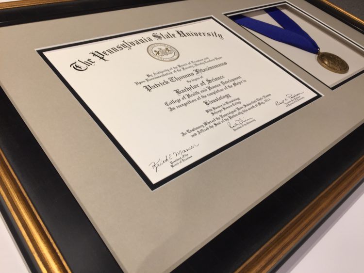 Penn State Diploma Framing with Medal