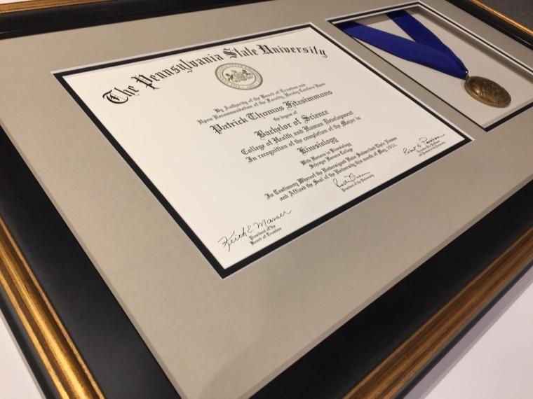 Penn State Diploma Framing with Medal