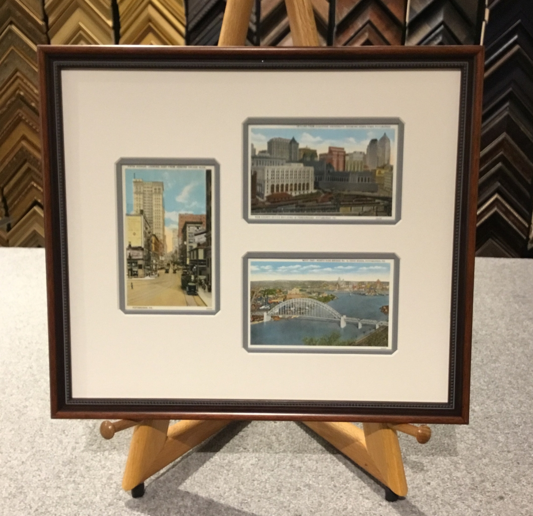 Pittsburgh vintage Postcards custom framed