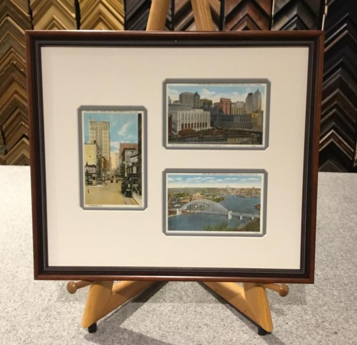Pittsburgh vintage Postcards custom framed