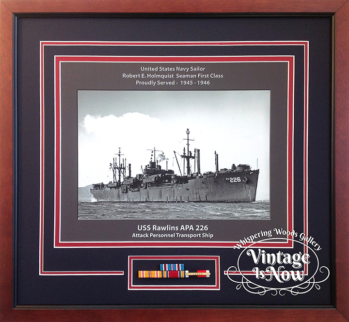 USS Rawlins custom framed ship