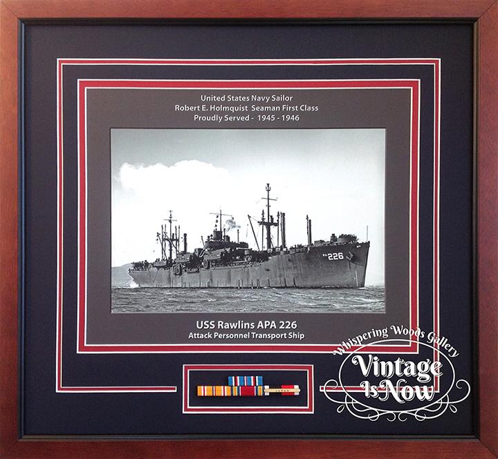 USS Rawlins custom framed ship