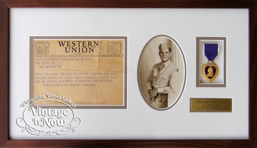Custom Framed Military Telegram, photo and Purple heart