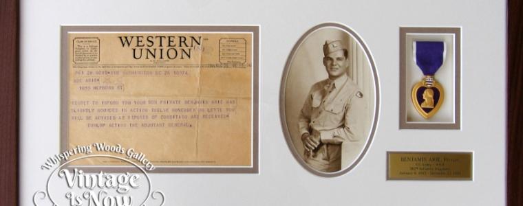 Custom Framed Military Telegram, photo and Purple heart
