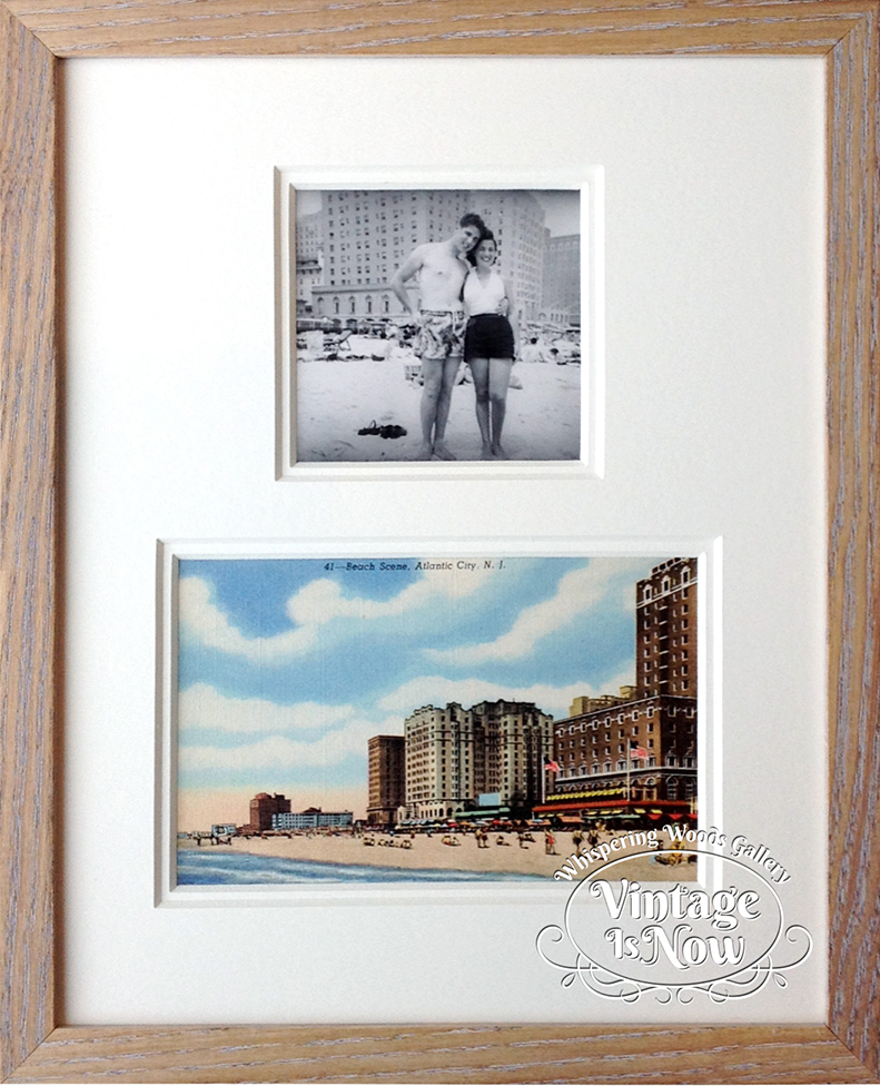 Vintage photo and postcard custom framed