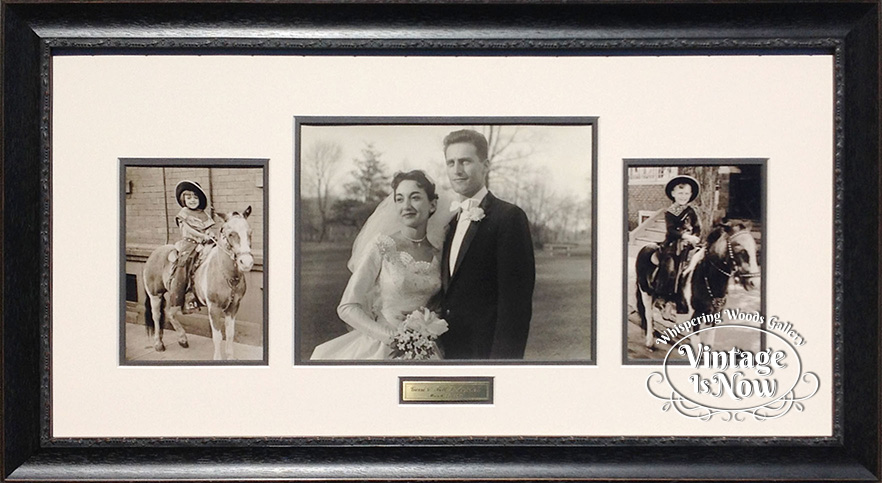 Framed pony and wedding photos