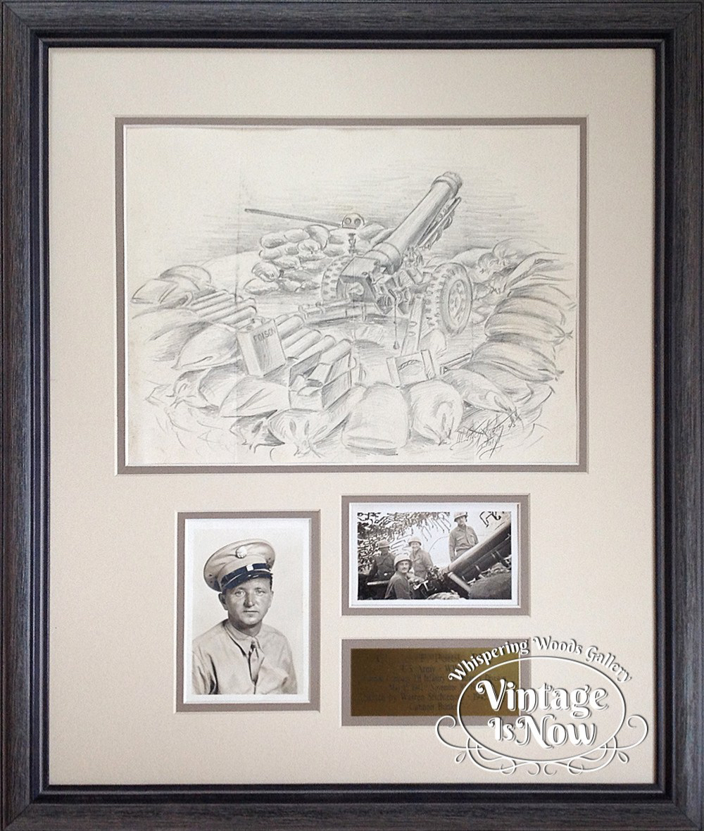 WWII custom framed sketch with photos
