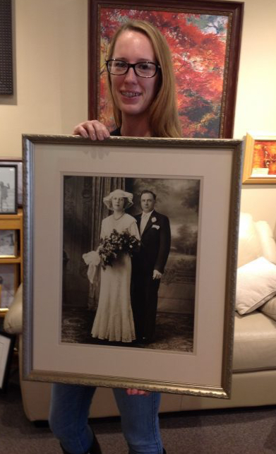 Custom framed vintage wedding portrait