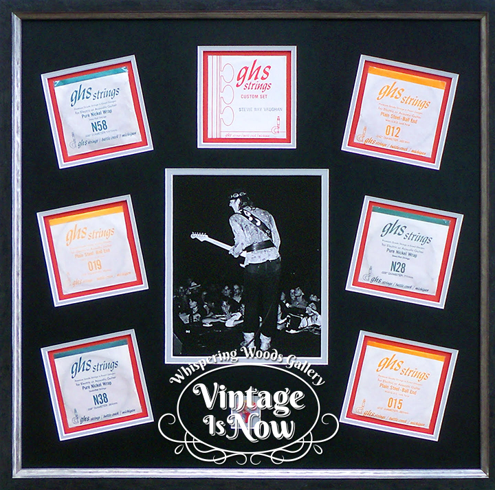 Custom Framed Stevie Ray Vaughan photo, guitar strings and pick