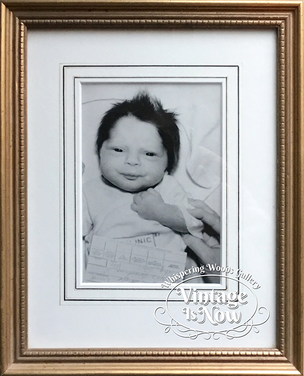 Vintage baby photo custom framed