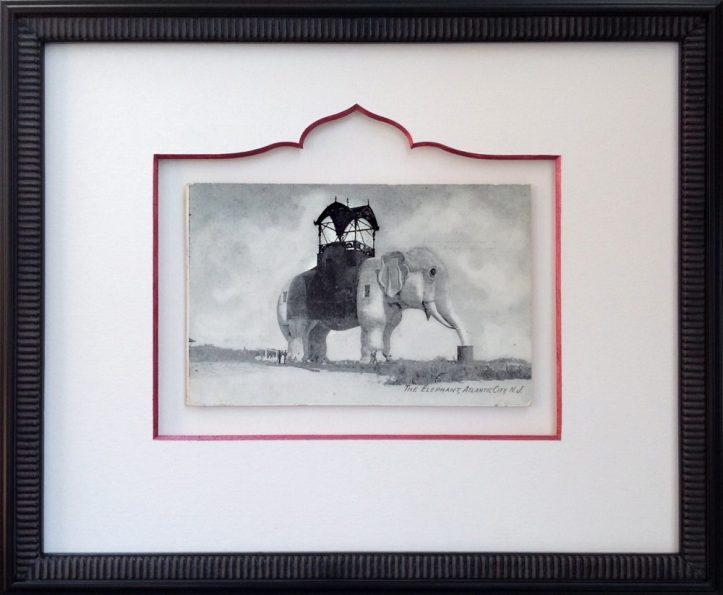 Custom Framed Vintage Lucy the Elephant Postcard