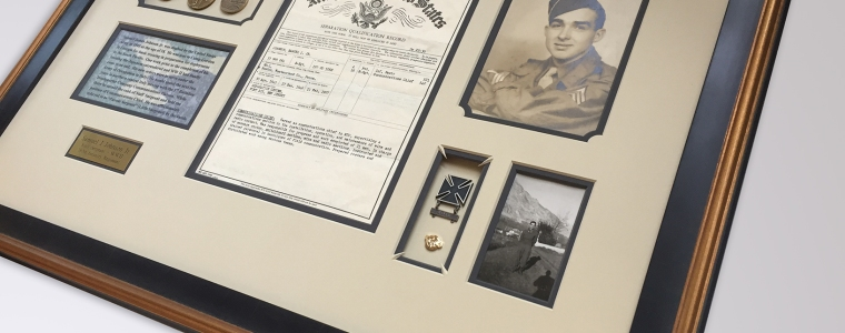 Custom Framed WWII Army discharge papers, medals, pins and photos