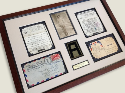 WWII framed military army items
