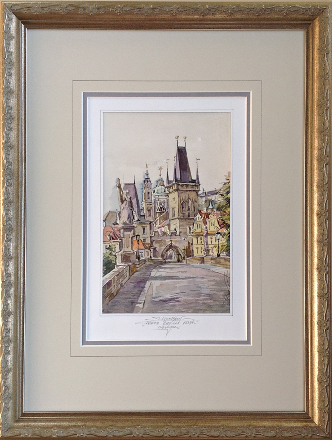 Custom framed Prague watercolor