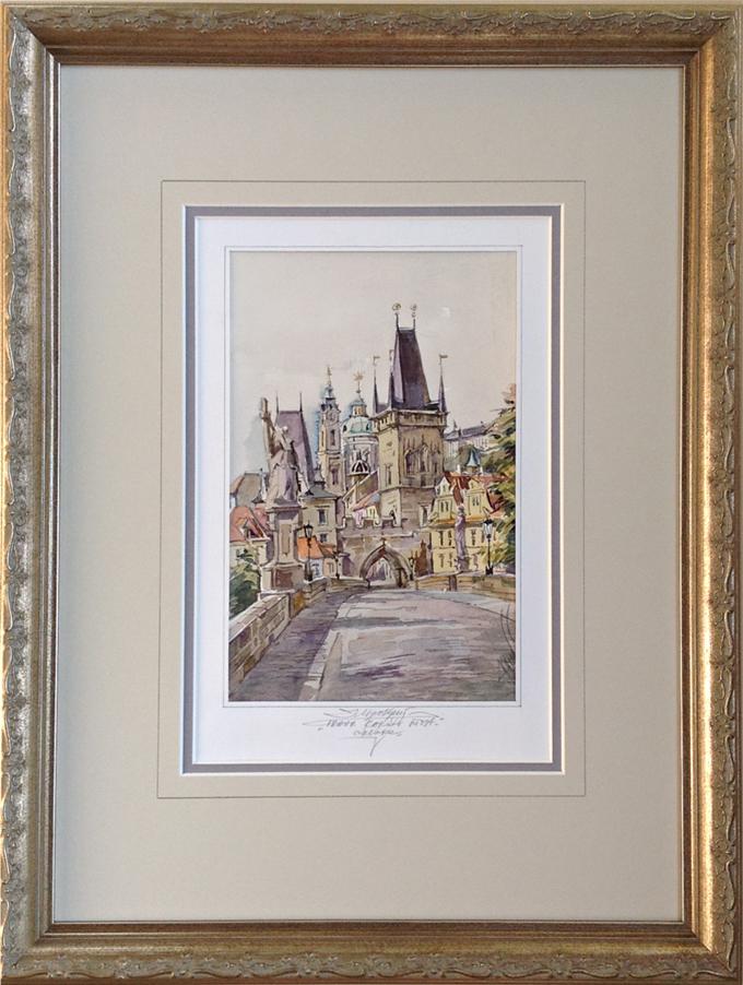 Custom framed Prague watercolor