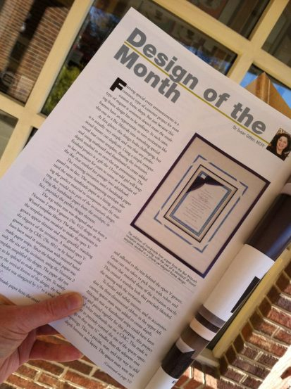 Another article in Picture Framing Magazine!