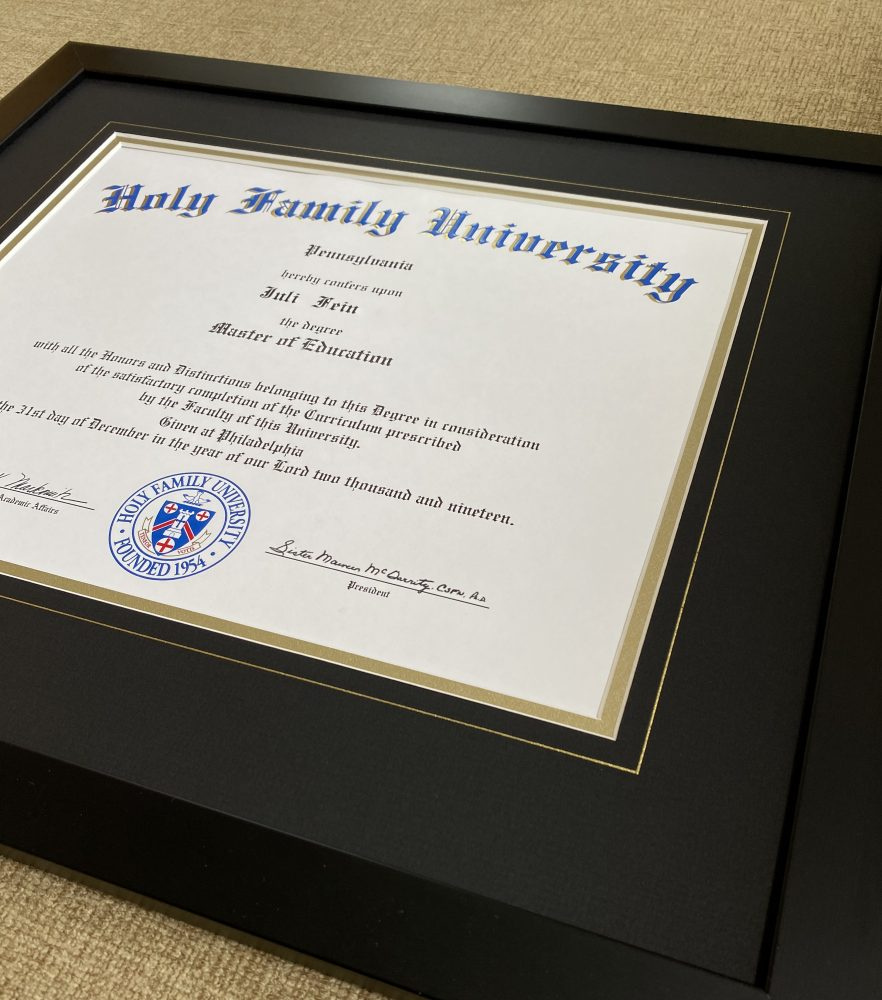Holy Family custom framed diploma at Whispering Woods Gallery Holland Pa