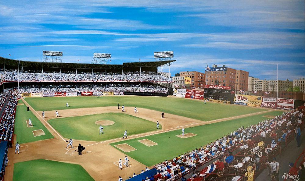 Ebbets Field Ball Park, Fall Classic in Flatbush, Stadium Print by Michael Kuyper