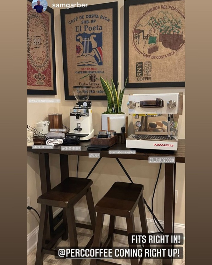 Coffee area with framed coffee bags